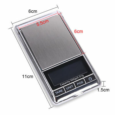 500g 0.01 DIGITAL POCKET SCALES JEWELLERY ELECTRONIC milligram micro mg 3