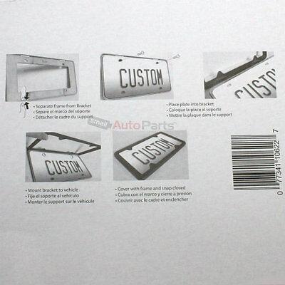2 BLACK CARBON Fiber Custom License Plate Tag Snap Fit Frames for ...