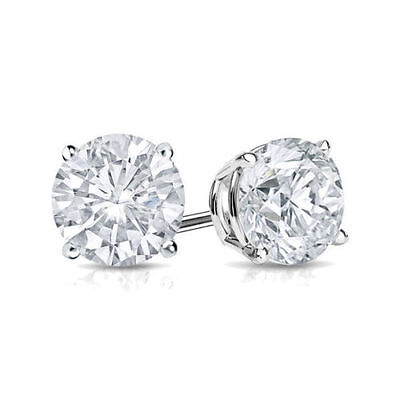 4 Ct Diamond Stud Earrings Round Diamond Solitaire Stud Earrings 14K White Gold 2