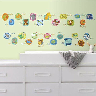 DOTTED ALPHABET LETTERS wall stickers 107 decals school decor nursery ABC animal