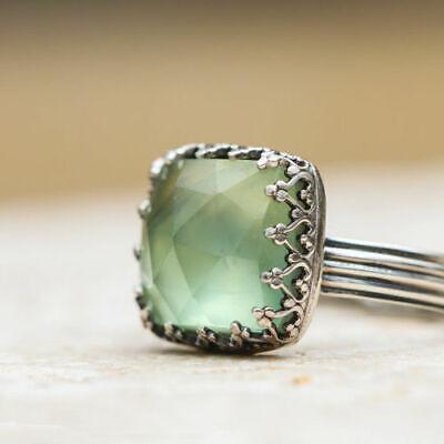 Women 925 Silver Gemstone Vintage Peridot Vintage Moonstone Wedding Ring Sz 6-10 8