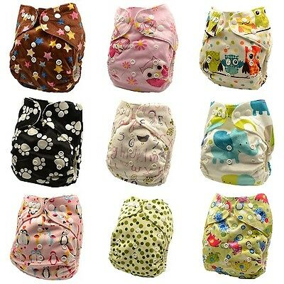 10 x Reusable Modern Cloth Nappies & Inserts All Size Diapers Print Bulk sales 3