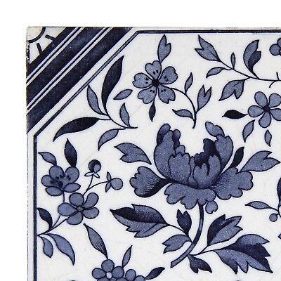 Antique Tile Victorian Aesthetic Japonesque Floral International Tile Delft Blue 3