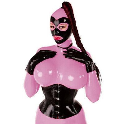 Unisex Latex Rubber Catsuit Rot&Schwarz 100% Gummi Bodysuit With Mask Cosplay 5