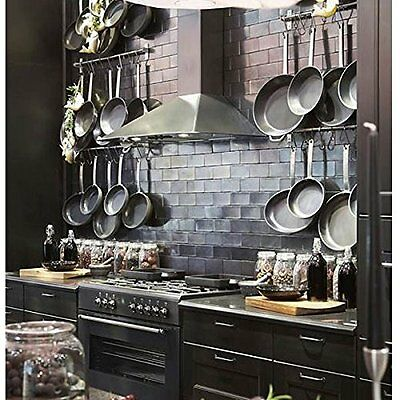 Wall Mount Rail 10 S Hooks Set Utensil Pot Pan Lid Holder Rack Kitchen Organizer 8