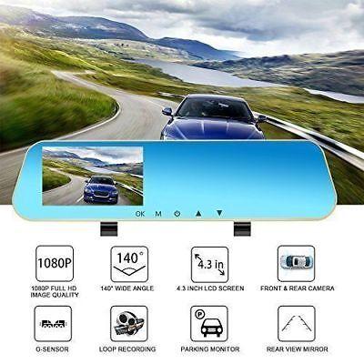 16GB FULL HD in Car Rear View Mirror CCTV Security Dual Camera Recorder DASH CAM 4