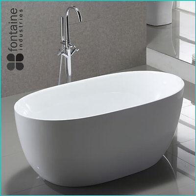 Freestanding Bath 1300 Compact Acrylic White Round Modern Bathtub 2