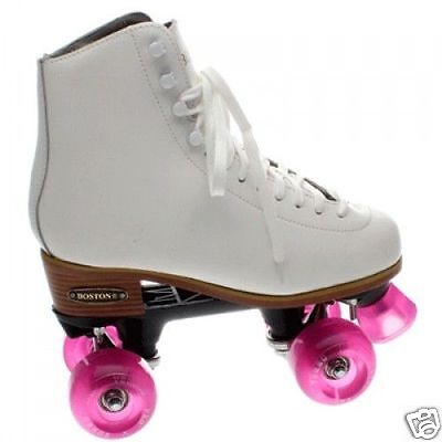 Boston II White Leather Quad Roller Skates - Ventro wheels all colours
