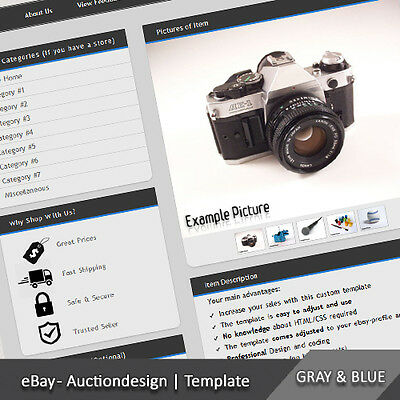 EBAY PROFESSIONAL CUSTOM Design Auction Listing Template - Ebay item template