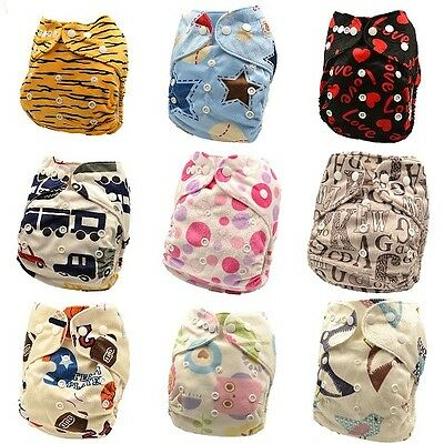 10 x Reusable Modern Cloth Nappies & Inserts All Size Diapers Print Bulk sales 4