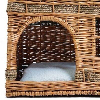 Cat Den bed Elaborately Woven Wicker Kitten Bed 2 floors window napping cushion 4
