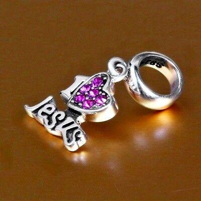 50pcs Tibetan silver jesus loves you charms EF1821