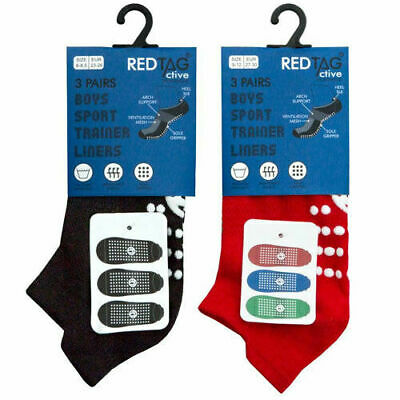 3 Pairs of Kids Boys Girls Grip Gripper Trainer Socks Sports Liners Non Skid 2