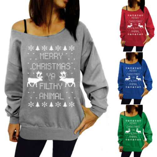 XMAS Women Sweatshirt Sweater Jumper Girls Christmas Hoodie Pullover Tops Blouse 4