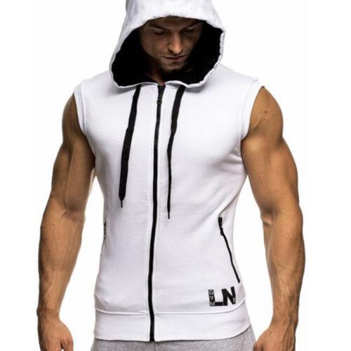 Mens Sleeveless Zip Up Gillet Hoodie Hooded Sweatshirt Lightweight Hoody Top Tee
