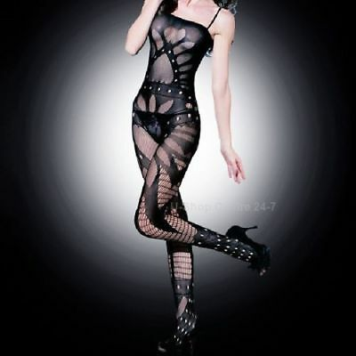 Black Classy Fishnet Open Crotch Bodystocking Bodysuit Lingerie Crotchless 5