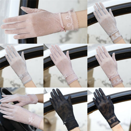 Women Summer Driving Thin Lace Gloves Outdoor Uv Protection One Size New VE-SL 3