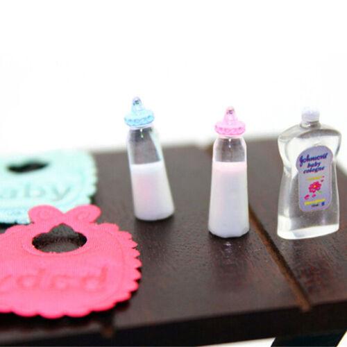 1:12Dollhouse Miniature Toy Baby Milk Bottle Bib Showers Gels 5pcs Home Decor JB