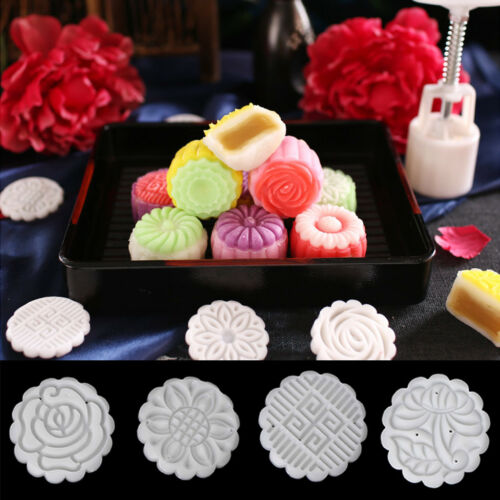 Moon Cake Mould Mold Hand Pressure Flower Decor Motif Pastry 50g Round+4 Stamps 2