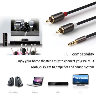 3.5 mm Jack Plug Male to 2 RCA Stereo Audio Cable Metal Connector 1/3/5 Meter CA 4