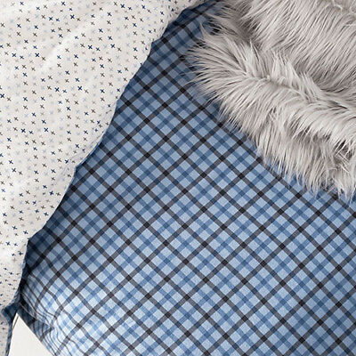 ADAIRS Harvard COT QUILT COVER SET plus FITTED SHEET BNIP blue check flannelette