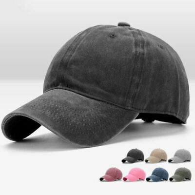Men Plain Washed Cap Style Cotton Adjustable Baseball Cap Blank Solid Hat Casual 2