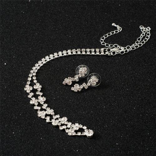 Bridesmaid Crystal Necklace Earrings Set Wedding Bridal Jewelry Jewellery FO 6