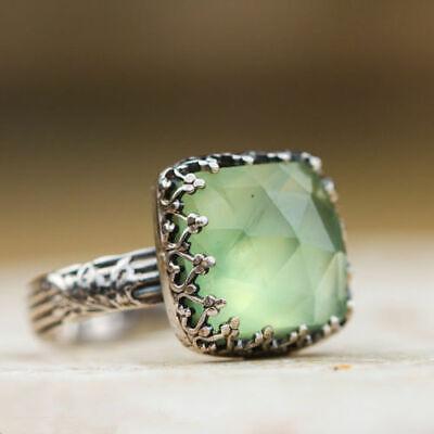 Women 925 Silver Gemstone Vintage Peridot Vintage Moonstone Wedding Ring Sz 6-10 11
