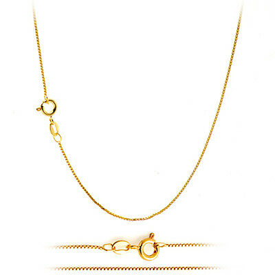 18K Gold Plated Classic Italian Thin Box Chain Necklace for Pendants - ALL SIZES 2