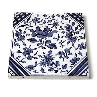 Antique Tile Victorian Aesthetic Japonesque Floral International Tile Delft Blue 8