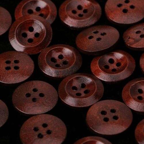 50 Pcs Wooden 4 Holes Round Wood Sewing Buttons DIY Craft Scrapbooking 10-25mm 5