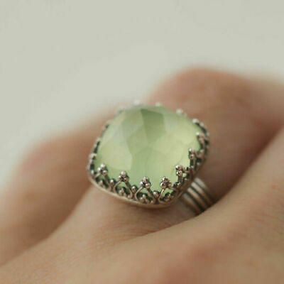 Women 925 Silver Gemstone Vintage Peridot Vintage Moonstone Wedding Ring Sz 6-10 10
