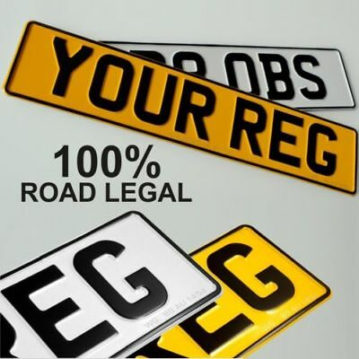 Pair Standard Pressed Number Plates Metal Car MOT Compliant REG Road Legal 100% 2