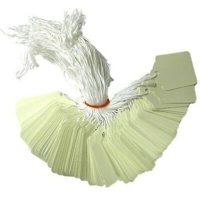 White Kraft Strung String Tags Swing Price Tickets Jewellery Tie On Labels 2