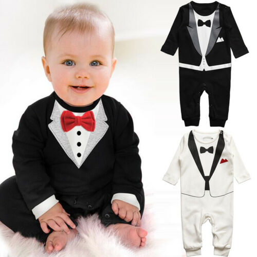 f10e87e83 INFANT BOY BABY Formal Suit Tuxedo Peagent Romper Wedding Party ...