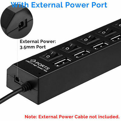 7-Port USB 2.0 Multi Charger Hub +High Speed Adapter ON/OFF Switch Laptop/PC US 3