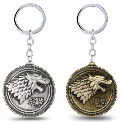 Game of Thrones House Stark Head Targaryen Baratheon 3D Metal Keyring Keychain 5