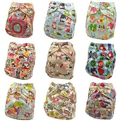 10 x Reusable Modern Cloth Nappies & Inserts All Size Diapers Print Bulk sales 8