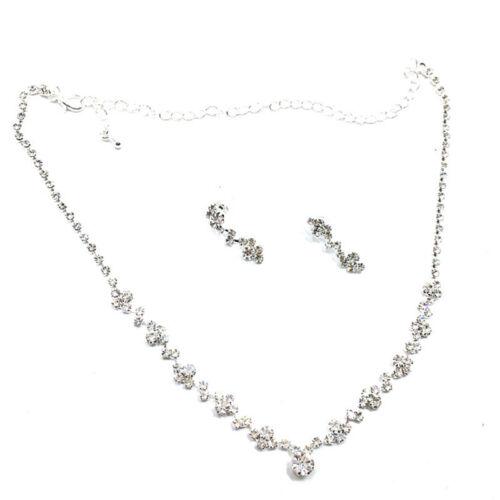 Bridesmaid Crystal Necklace Earrings Set Wedding Bridal Jewelry Jewellery FO 3