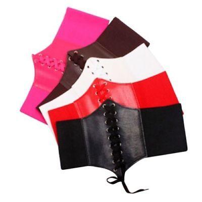 Women Shaper Shapewear PU Leather Slim Body Corset Lace up Waist Trainer Cincher 4