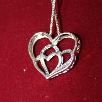 "XPY 14k Rose Gold/Sterling Silver, Diamond Triple Heart Pendant, 18"" Chain 4"