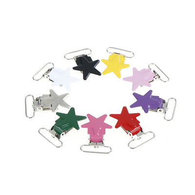5Pcs Baby Star Metal Suspenders Clips Soothers Holder Dummy Pacifier Clip RASK 2