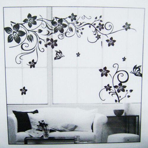 wandtattoo blumenranke schwarz wohnzimmer tv schmetterling ornament dekor eur 3 10 picclick de. Black Bedroom Furniture Sets. Home Design Ideas