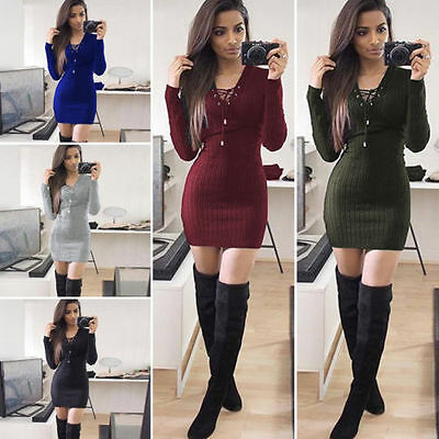 Womens Ladies Lace Up Knitted Bodycon Jumper Dress Winter Bodycon Party Dresses 8