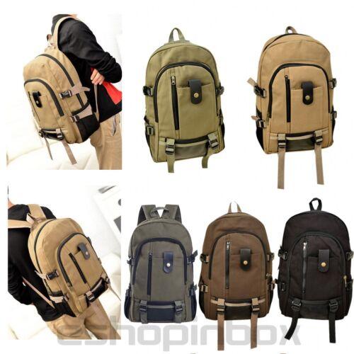 Men Vintage Canvas Backpack Rucksack Travel Hiking Schoolbag Laptop Camping Bag 2