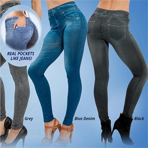 Perfect Fit Jeans Leggings Plus Jeans Lady's Denim Faux Jean Pants Sexy Women 4
