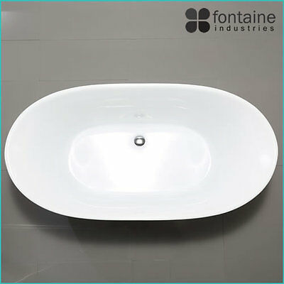 Freestanding Bath 1300 Compact Acrylic White Round Modern Bathtub 3