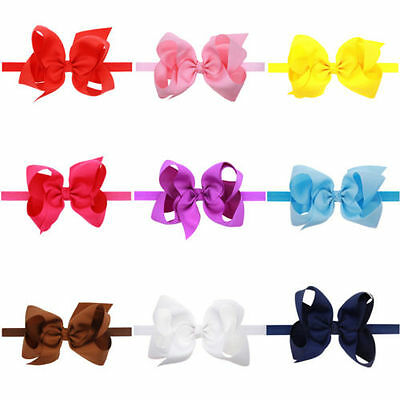 6 INCH BIG BOWS BOUTIQUE Hairband Soft knot Band CLIPS GROSGRAIN RIBBON BOW GIRL 2