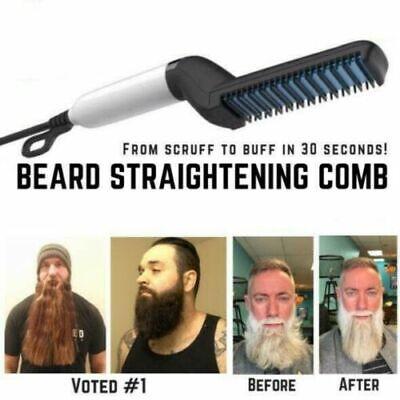 Quick Beard Straightener Multifunctional Hair Comb Curling Curler ShowCap Men AU 2