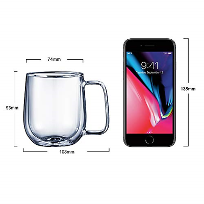 DOUBLE WALL COFFEE Mugs CMXING Insulated Glass Coffee Cups